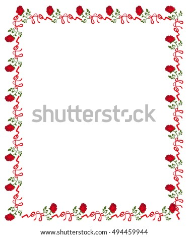 Vertical frame with red roses. Copy space. Raster clip art.