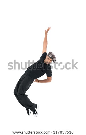 Vertical image of a cool dancer in a dynamic pose