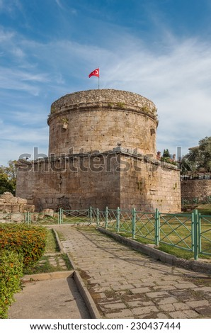 Vertical Image of Hidirlik Tower in Antalya, Turkey - stock photo