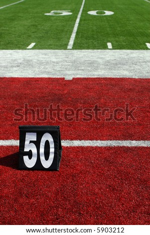 vertical image of 50-yard line marker