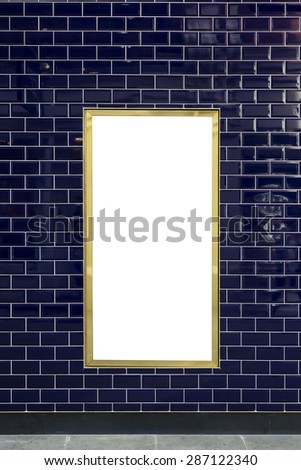 Vertical luxury blank outdoor advertising space with gold frame  - stock photo