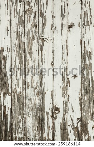 vertical orientation image of a section of vintage, antique, fencing with peeling paint in neutral colors, with copy space / Vintage Fencing - Vertical - stock photo