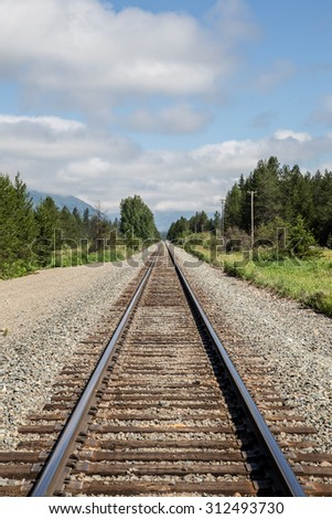 vertical orientation of empty train tracks leading to forests and mountains with a cloudy, blue sky / Train tracks leading to Forests and Mountains in Northern Idaho, USA