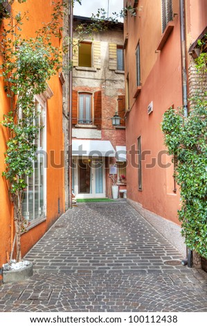 Vertical oriented image of narrow stone paved street among colorful buildings in Sirmione, Northern Italy.