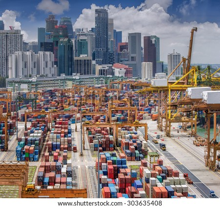 Vertical panoramic top view on Singapore harbor with Singapore city background - stock photo