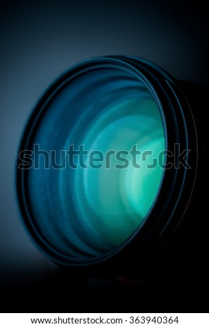 vertical photo lens, optics, glass - stock photo