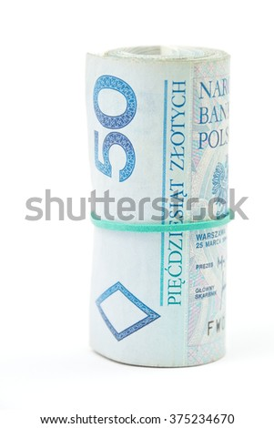 Vertical photo of a roll of Polish 50 zloty (PLN) banknotes tied with a rubber band isolated on white background. - stock photo