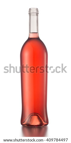 vertical photo of a rose wine bottle with no label and no cap isolated on white background