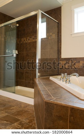 Vertical photo of walk in glass shower in master bathroom with partial soaking tub and window in background  - stock photo
