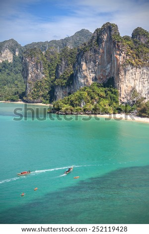 Vertical picture of a beautiful beach, Railay in Thailand.