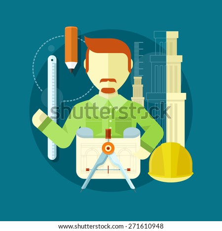 Vertical portrait of a happy architect constructor worker at his work place with tools for drawing. Concept in flat design. Raster version - stock photo