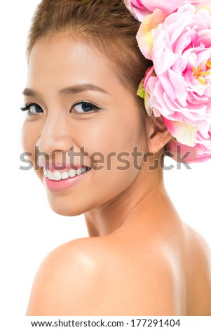 Vertical portrait of a naked sensual mulatto looking at camera  - stock photo