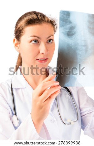 Vertical portrait of doctor with x-ray in hands - stock photo