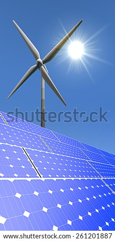 Vertical poster - solar panels and windmill