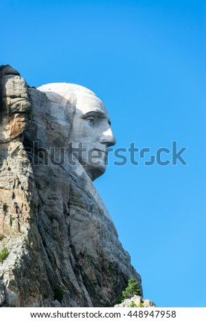Vertical profile view of George Washington at Mt Rushmore
