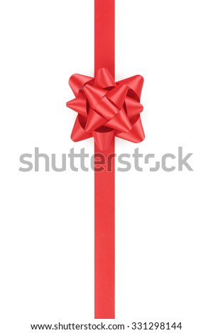 vertical red ribbon with gift bow isolated on white background - stock photo