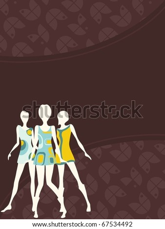Vertical 1960's retro banner in dark colors(jpg); vector version also available - stock photo