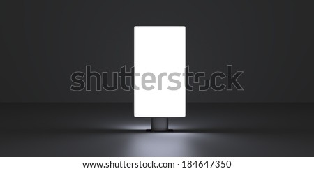 Vertical screen on dark background - stock photo