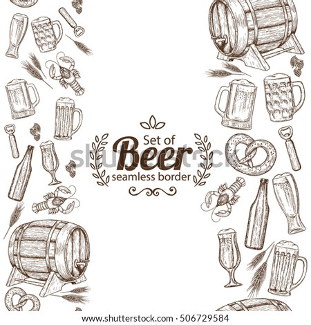Vertical seamless borders of sketch vintage beer icons. Stock illustration.