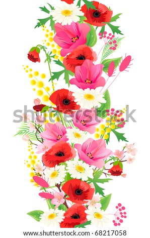 Vertical seamless pattern made of different summer flowers. Raster version. Vector version is in my gallery.