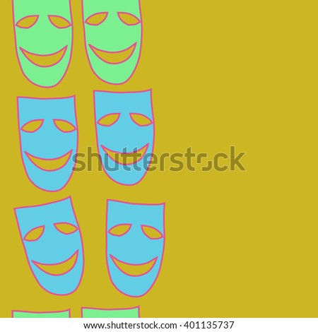 Vertical seamless  pattern of theater masks, copy space. Hand drawn.