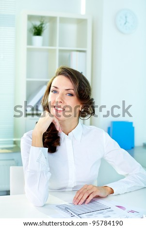 Vertical shot of a beautiful lady at office, secretary or business woman