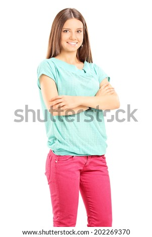 Vertical shot of a beautiful young woman posing isolated on white background - stock photo