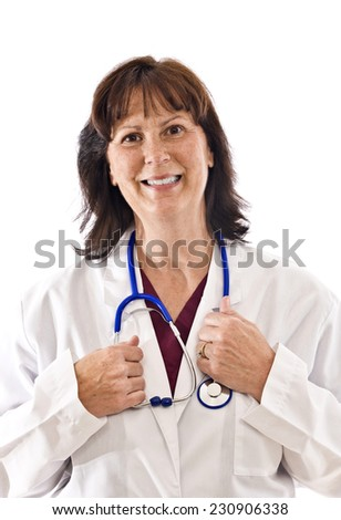 Vertical Shot Of A Happy But Tired Female Doctor On White Background