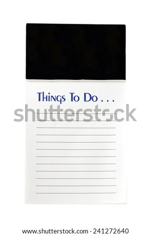 Vertical Shot Of A 'To Do' List Isolated On White - stock photo