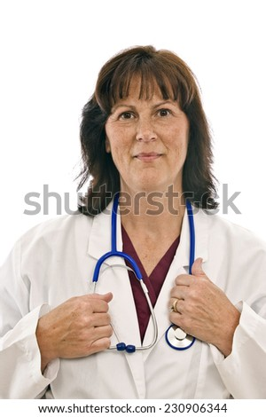 Vertical Shot Of Cheery Cheerful Doctor On White Background - stock photo