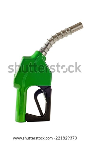 Vertical Shot Of Green Gasoline Fuel Nozzle Isolated On White - stock photo