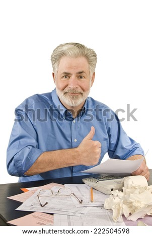 Vertical Shot Of Man Showing Thumbs Up/ Getting A Tax Refund  - stock photo