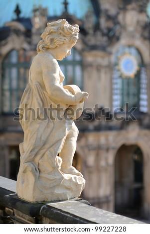 Vertical shot of statue in Zwinger Museum. Dresden, Germany. - stock photo