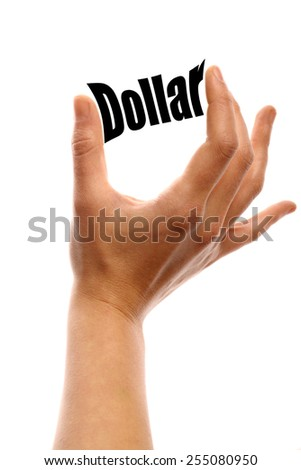 "Vertical shot of two fingers squeezing the word ""Money"" between two fingers, isolated on white. - stock photo"
