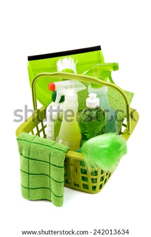Vertical Shot On Angle Of Cleaning Supplies/ Time For Some Cleaning - stock photo