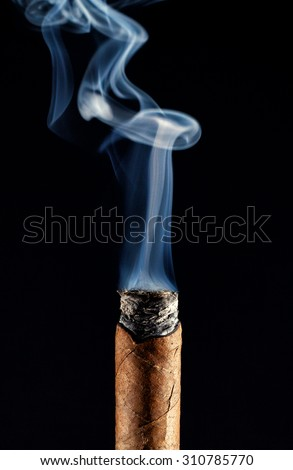 Vertical shot with cigar smoke rising from the burning Toback - stock photo