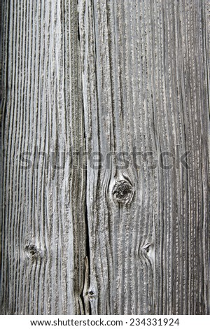 Vertical siding boards with gray finish and knots for use as texture - stock photo