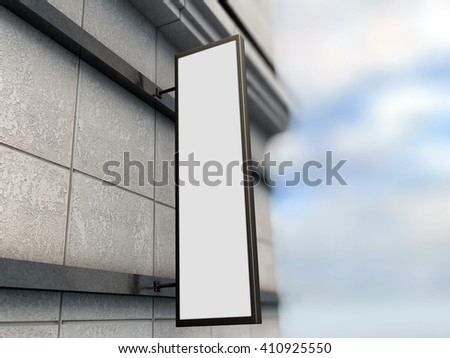 Vertical signage mock up with blurred background 3d render - stock photo