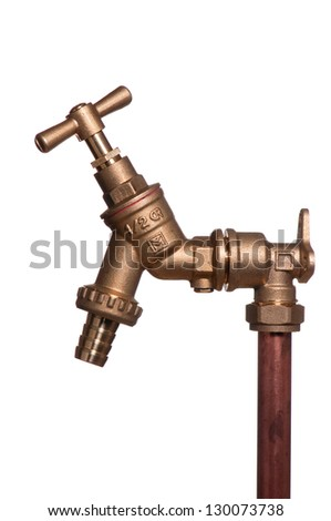 vertical stand pipe with brass tap - stock photo