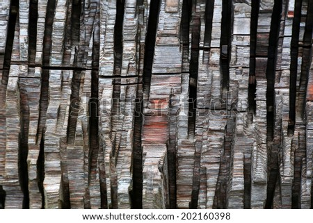 vertical strips of chopped wood as a background - pattern - stock photo