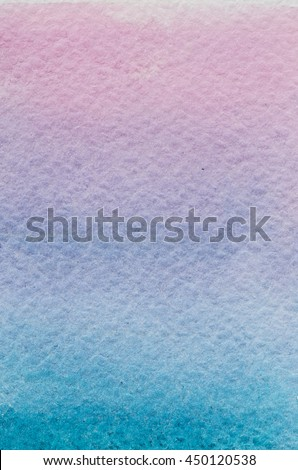 Vertical sunset cyan blue violet pink purple light hand drawn abstract watercolor gradient background. Space for text, lettering, copy. Nice postcard template. - stock photo