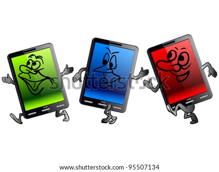 Vertical Tablet computer in the form of little people. Vector version also available in portfolio. - stock photo