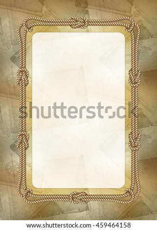 Vertical template of diploma, banner or greeting card with sea design elements, illustration