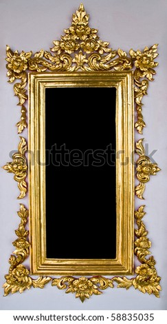 Vertical Traditional Thai Chinese Golden Empty Frame - stock photo