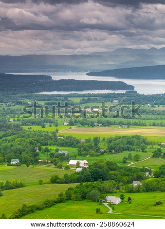 Vertical Vermont Countryside scene looking towards Lake Champlain and the Adirondack Mountains.  The shot was taken from Mount Philo State Park - stock photo