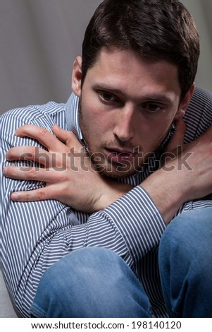 Vertical view of a male depression at home - stock photo