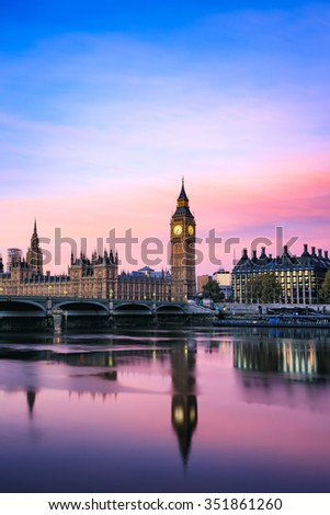 Vertical view of Big Ben and Houses of parliament at dusk, London, UK.
