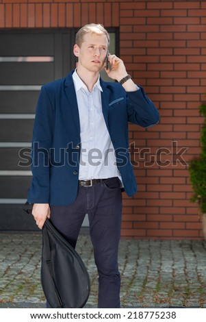 Vertical view of businessman before playing squash - stock photo