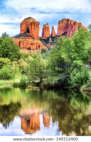 Vertical view of Cathedral Rock in Sedona, Arizona. - stock photo