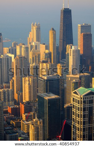 Vertical view of Chicago from the top  of its tallest building - stock photo